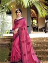 image of Pink Fancy Thread Embroidered Festive Wear Saree In Georgette