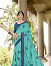 image of Georgette Cyan Fancy Thread Embroidered Festive Wear Saree
