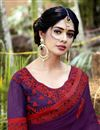 photo of Thread Embroidered Purple Festive Wear Saree In Georgette