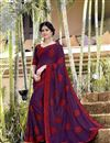 image of Thread Embroidered Purple Festive Wear Saree In Georgette