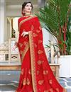 image of Party Wear Red Embroidered Fancy Saree In Georgette