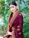 photo of Georgette Fancy Party Wear Wine Embroidered Saree