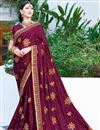 image of Georgette Fancy Party Wear Wine Embroidered Saree