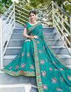 photo of Party Wear Georgette Embroidered Fancy Cyan Saree