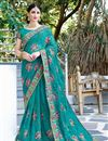 image of Party Wear Georgette Embroidered Fancy Cyan Saree