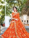 photo of Orange Georgette Fancy Festive Wear Embroidered Saree