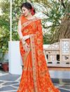 image of Orange Georgette Fancy Festive Wear Embroidered Saree
