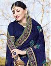 photo of Party Style Georgette Embroidered Fancy Saree In Navy Blue