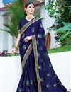 image of Party Style Georgette Embroidered Fancy Saree In Navy Blue