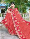 photo of Pink Fancy Party Wear Georgette Embroidered Saree