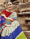 photo of Party Wear Multi Color Printed Fancy Saree In Art Silk