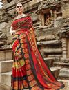 image of Art Silk Fancy Casual Party Wear Red Printed Saree
