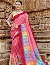 image of Fancy Festive Wear Pink Printed Saree In Art Silk