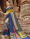 image of Casual Party Style Art Silk Printed Fancy Saree In Grey