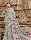 image of Cream Fancy Casual Party Wear Art Silk Printed Saree
