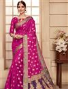 image of Festive Wear Magenta Color Weaving Work Fancy Saree In Art Silk