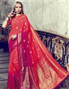 image of Festive Wear Red Printed Fancy Saree In Art Silk