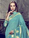 photo of Art Silk Fancy Festive Wear Cyan Printed Saree