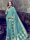 image of Art Silk Fancy Festive Wear Cyan Printed Saree