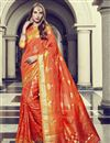 image of Orange Art Silk Fancy Festive Wear Printed Saree