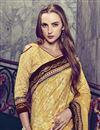 photo of Print Work On Fancy Art Silk Festive Wear Yellow Saree