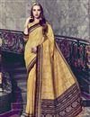 image of Print Work On Fancy Art Silk Festive Wear Yellow Saree