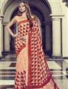 image of Festive Wear Art Silk Printed Fancy Saree In Peach