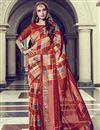 image of Rust Color Fancy Festive Wear Art Silk Printed Saree