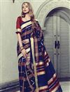 image of Festive Wear Navy Blue Fancy Art Silk Saree With Print Work
