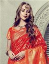 photo of Fancy Print On Festive Wear Red Art Silk Saree