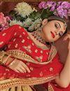 photo of Embroidery Work On Cream Designer Lehenga In Banarasi Silk Fabric With Blouse
