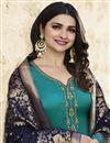 photo of Prachi Desai Cyan Embroidered Georgette Function Wear Designer Straight Cut Suit