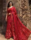 image of Prachi Desai Red Color Georgette Fabric Party Wear Fancy Printed Saree
