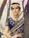 photo of Designer Function Wear Georgette Saree In Navy Blue With Embroidery