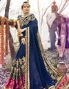 image of Designer Function Wear Georgette Saree In Navy Blue With Embroidery