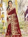 image of Georgette Designer Function Wear Maroon Saree With Embroidery