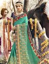 image of Cyan Designer Function Wear Georgette Saree With Embroidery Work