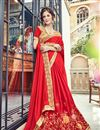 photo of Occasion Wear Art Silk Fabric Embroidered Saree In Red Color With Designer Blouse