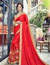 image of Occasion Wear Art Silk Fabric Embroidered Saree In Red Color With Designer Blouse