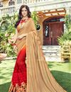 image of Embroidery Work On Georgette Fabric Cream Color Function Wear Saree With Marvelous Blouse