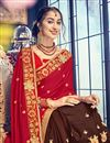 photo of Red Color Georgette Fabric Reception Wear Saree With Embroidery Work And Fancy Blouse
