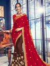 image of Red Color Georgette Fabric Reception Wear Saree With Embroidery Work And Fancy Blouse