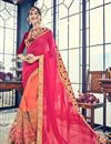 image of Georgette Fabric Embroidery Designs On Rani Color Reception Wear Saree With Attractive Blouse
