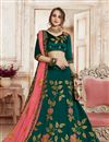 image of Fawn Color Wedding Wear 3 Piece Lehenga In Art Silk Fabric With Embroidery Work