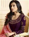 photo of Purple Georgette Designer Fancy Embroidered Function Wear Straight Cut Suit