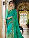 image of Gorgeous Teal Color Traditional Georgette Fabric Party Wear Saree