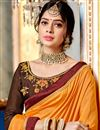 photo of Pleasant Mustard Color Party Wear Saree In Georgette And Art Silk Fabric