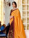 image of Pleasant Mustard Color Party Wear Saree In Georgette And Art Silk Fabric