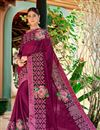 image of Print Designs On Dark Magenta Party Wear Saree In Georgette Fabric