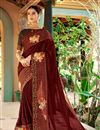 image of Print Work On Office Party Wear Saree In Brown Georgette Fabric